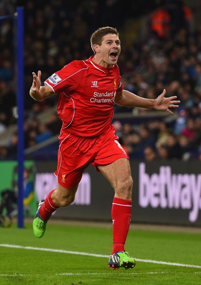 <p>One-club man Stevie G grabbed all his goals for Liverpool. </p>