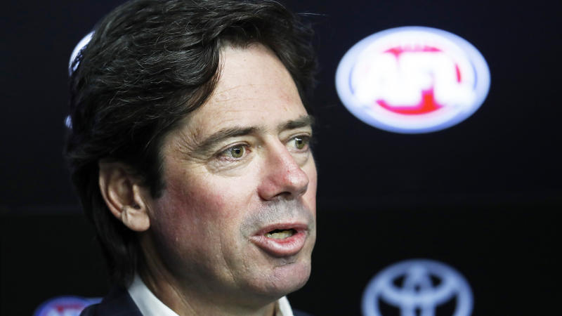 MELBOURNE, AUSTRALIA - MARCH 22: AFL CEO Gillon McLachlan speaks to the media during an AFL press conference at AFL House on March 22, 2020 in Melbourne, Australia. (Photo by Darrian Traynor/Getty Images)