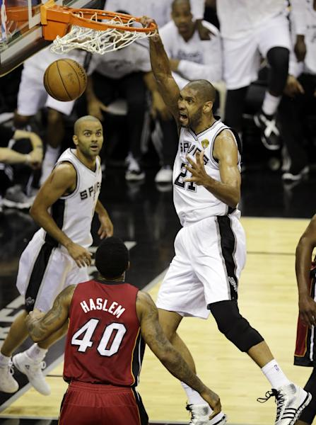 San Antonio Spurs' Tim Duncan (21) dunks during the first half at Game 3 of the NBA Finals basketball series against the Miami Heat, Tuesday, June 11, 2013, in San Antonio. (AP Photo/David J. Phillip)