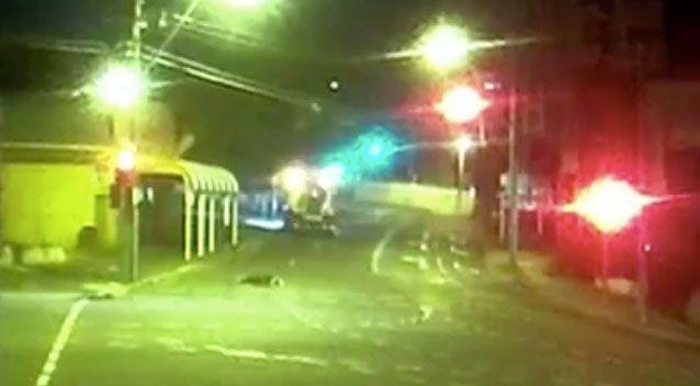 The heavy duty loader carried on driving after running over Ms Stevenson. Source: 7 News