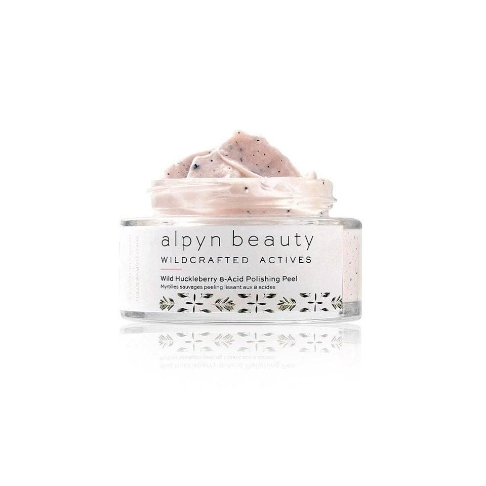 <p>The <span>Alpyn Beauty Wild Huckleberry 8-Acid Polishing Peel Mask</span> ($56) is a potent, yet gentle chemical and physical exfoliating mask. Plant acids provide the chemical exfoliation while bamboo powder helps buff and polish the surface of skin.</p>