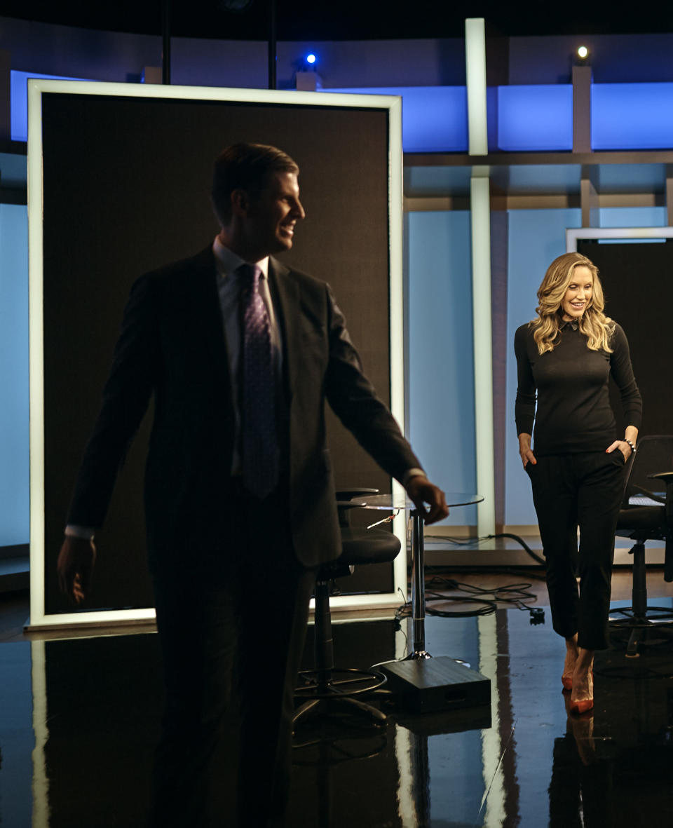 Eric Trump, left, and Lara Trump, right, leave the Fox studios after they taped a segment of<em> Justice With Judge Jeanine</em>, in New York on Oct. 13, 2017. (AP Photo/Andres Kudacki)