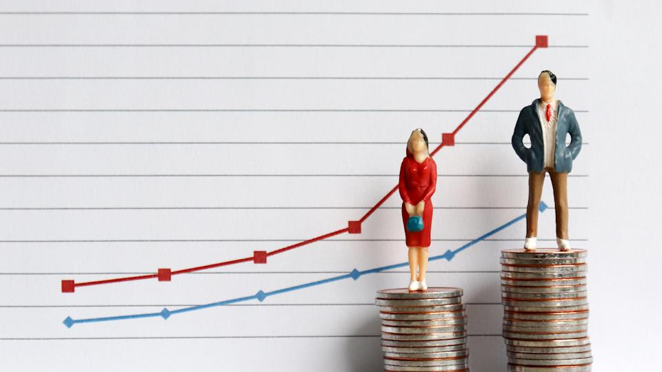 Miniature people standing on a pile of coins in front of a graph. The concepts of continuing gender inequality. Photo: Getty