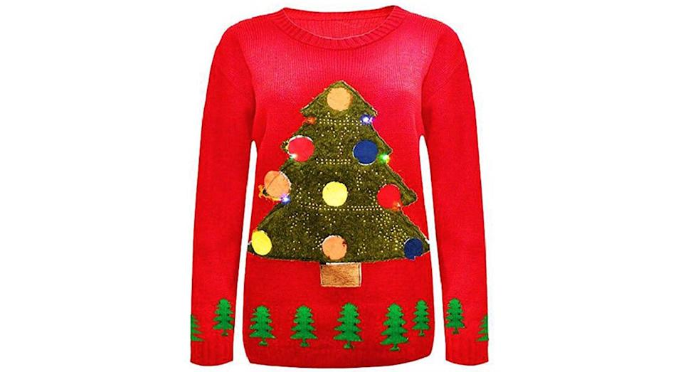 Comfiestyle New Women's Men's Novelty X-Mas Christmas Tree with Flashing Light Jumper