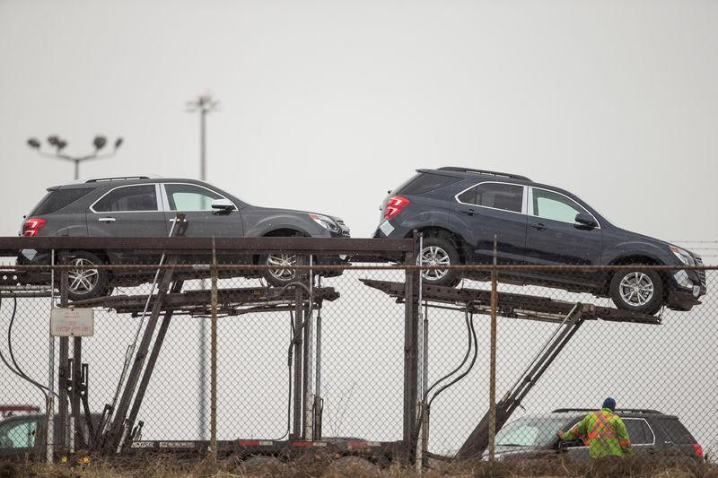 FILE PHOTO: Several GMC Terrain are prepared to be shipped from the General Motors CAMI car assembly plant, where the GMC Terrain and Chevrolet Equinox are built, in Ingersoll, Ontario, Canada, January 27, 2017. REUTERS/Geoff Robins/File Photo