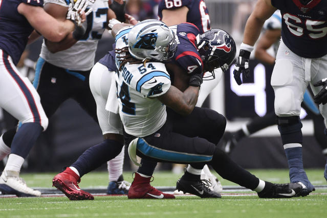 Houston Texans quarterback Deshaun Watson (4) is sacked by Carolina Panthers outside linebacker Shaq Thompson (54) during the first half of an NFL football game Sunday, Sept. 29, 2019, in Houston. (AP Photo/Eric Christian Smith)