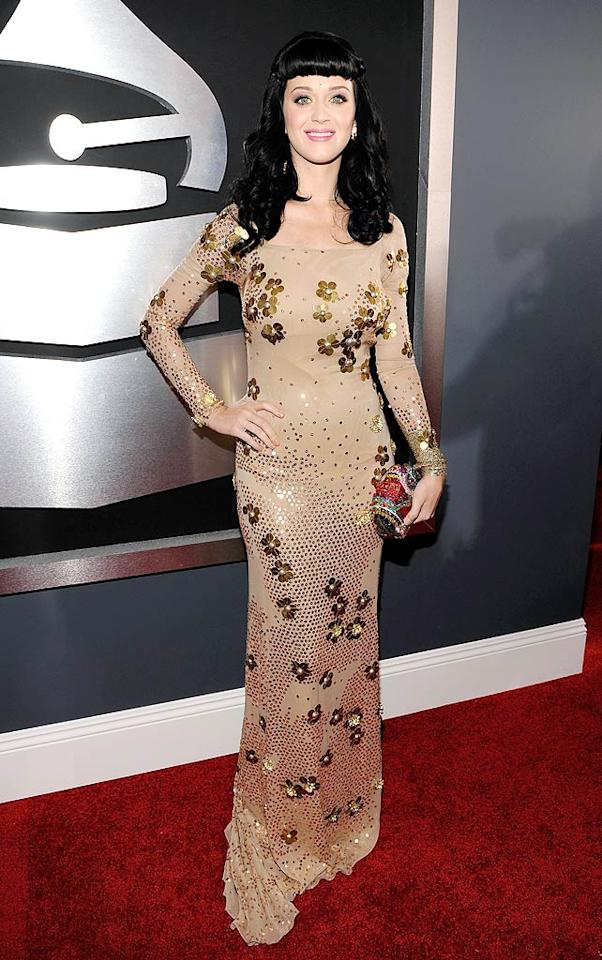 "Katy Perry  Grade: C+   Russell Brand's bride-to-be donned a nude Ice Capades-esque Zac Posen number, which looked a lot better onscreen than it did on the red carpet. Larry Busacca/<a href=""http://www.gettyimages.com/"" target=""new"">GettyImages.com</a> - January 31, 2010"