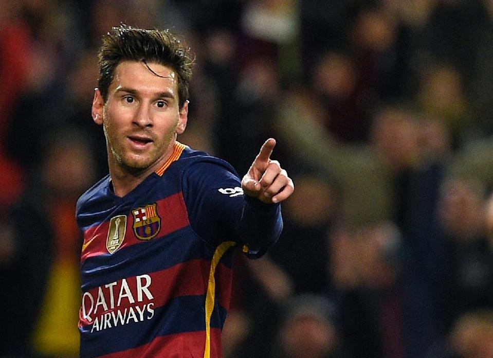 Barcelona's forward Lionel Messi celebrates a goal during the Spanish Copa del Rey football match FC Barcelona vs Valencia CF at the Camp Nou stadium in Barcelona on February 3, 2016 (AFP Photo/Lluis Gene)