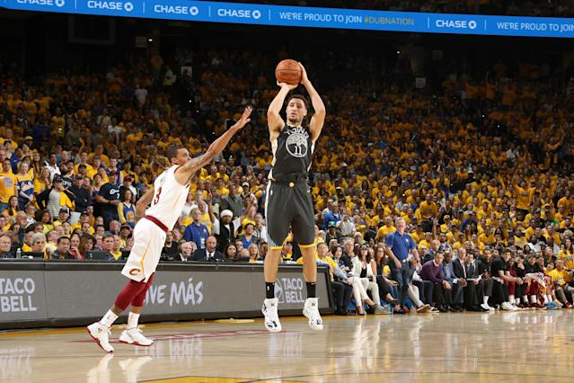 Klay Thompson hits a 3-pointer during Game 2 of the NBA Finals on Sunday night. (Getty Images)