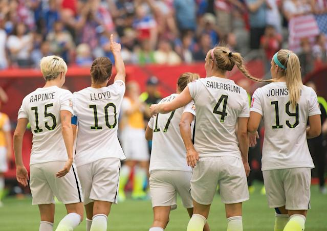 "The USWNT is a much different team in 2019 than it was in 2015. But there are plenty of familiar faces. Among them, from left: <a class=""link rapid-noclick-resp"" href=""/olympics/rio-2016/a/1124356/"" data-ylk=""slk:Megan Rapinoe"">Megan Rapinoe</a>, <a class=""link rapid-noclick-resp"" href=""/olympics/rio-2016/a/1124307/"" data-ylk=""slk:Carli Lloyd"">Carli Lloyd</a>, <a class=""link rapid-noclick-resp"" href=""/olympics/rio-2016/a/1124259/"" data-ylk=""slk:Tobin Heath"">Tobin Heath</a>, <a class=""link rapid-noclick-resp"" href=""/olympics/rio-2016/a/1124365/"" data-ylk=""slk:Becky Sauerbrunn"">Becky Sauerbrunn</a> and Julie Ertz. (Getty)"