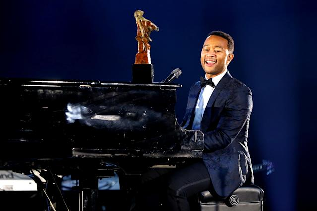 "<p>The longest climb to No. 1 on the Hot 100 by a solo artist. His romantic ballad ""All of Me"" topped the chart in its 30th week in May 2014. (Photo: Joe Scarnici/Getty Images for Moet Hennessy) </p>"