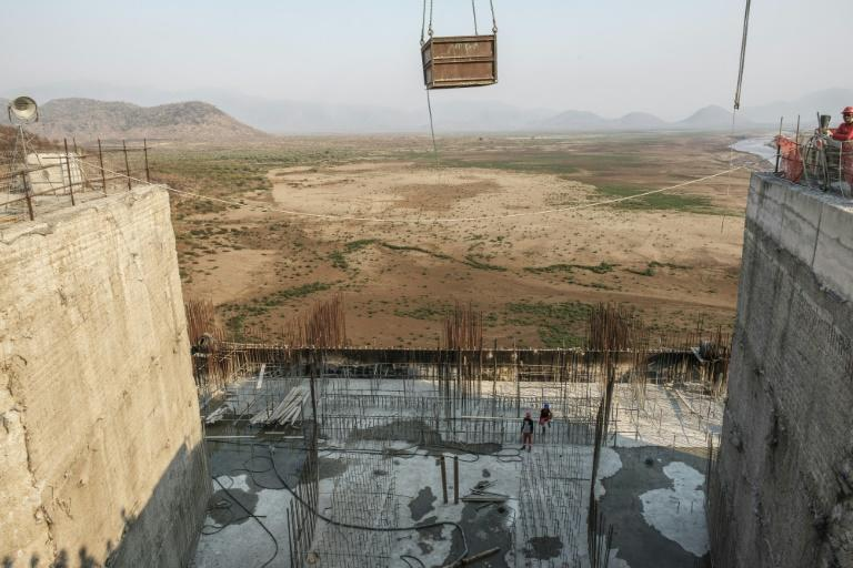 A general view of the construction works at the Grand Ethiopian Renaissance Dam near Guba in Ethiopia in December 2019 (AFP Photo/EDUARDO SOTERAS)