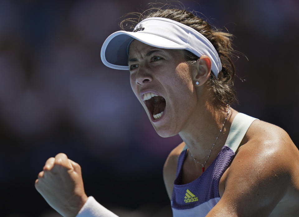After a battle in the first set, Garbine Muguruza made it past Anastasia Pavlyuchenkova in straight sets to reach the semifinals in Melbourne.