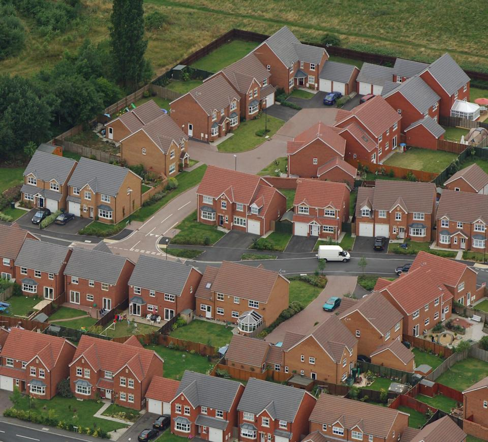 Aerial view of a housing estate near Coventry. House prices edged up 0.2% last month as the average cost of a home remained close to levels seen at the start of the year, the Halifax said. The bank's monthly update showed the annual rate of growth in prices continued to slow, falling to 2.3% in July and the lowest increase since April 1996.   (Photo by Rui Vieira - PA Images/PA Images via Getty Images)