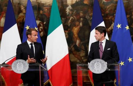 French President Macron and Italian PM Conte meet in Rome