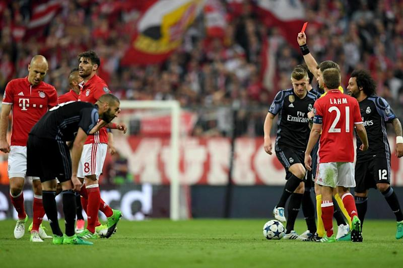 Marching orders | Javi Martinez is shown a red card (Bongarts/Getty Images)