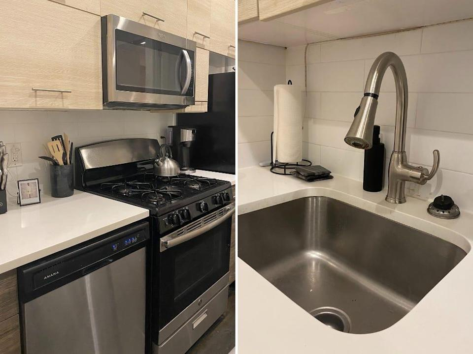 Side by side photo of a kitchen and a sink