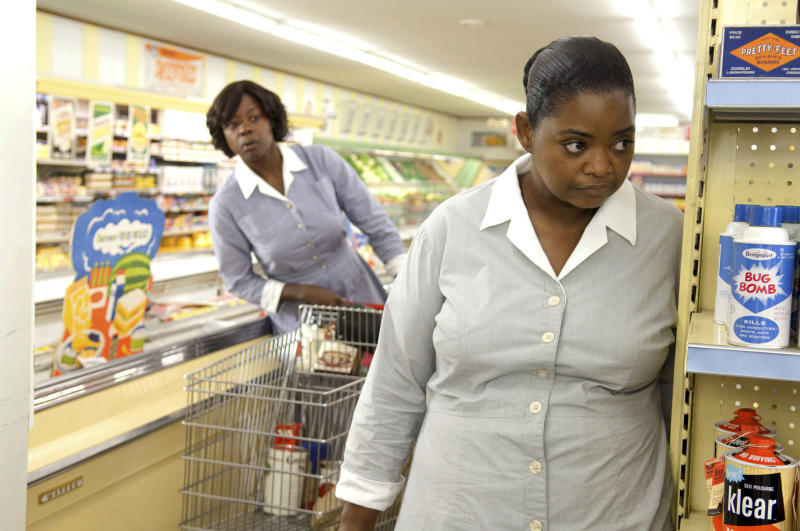 "FILE - In this film publicity FILE image released by Disney, Octavia Spencer, right, and Viola Davis are shown in a scene from ""The Help."" For the first time in the three years since Oscar organizers expanded the best-picture category to more than five films, there's not a single blockbuster in the running. The only contender this time that has made it to the $100 million mark domestically is the Deep South tale ""The Help"" at $169.7 million _ big business for a drama with a heavily female audience. (AP Photo/Disney, Dale Robinette, File )"