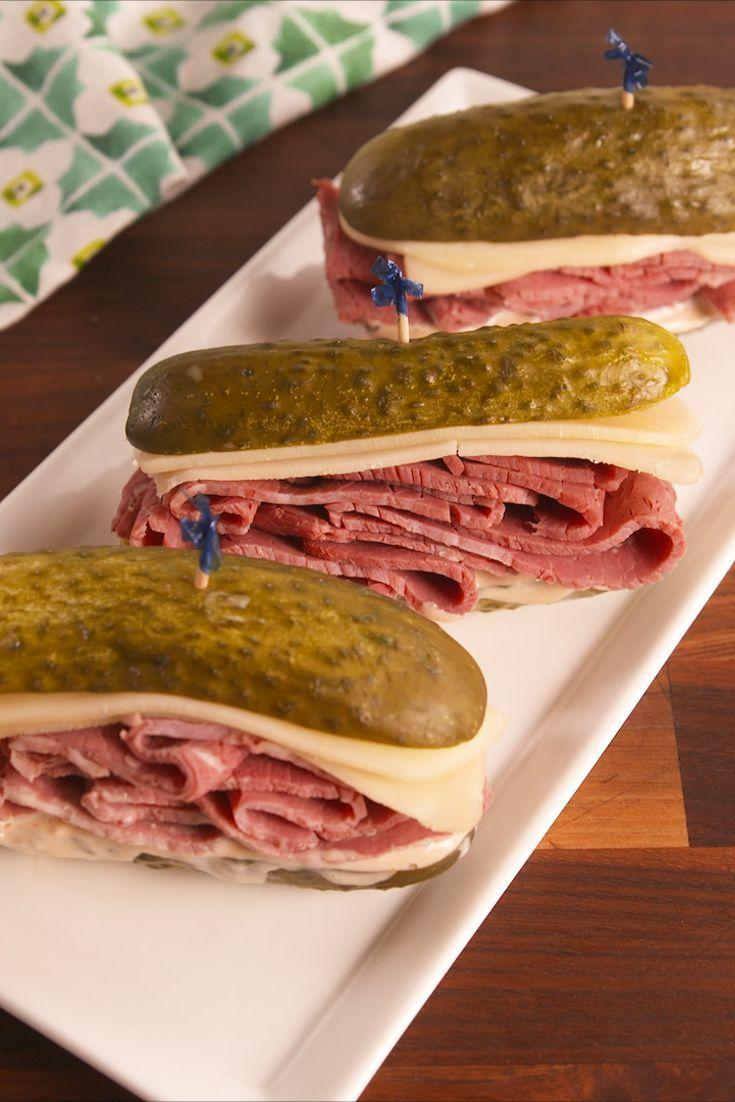 "<p>Less carbs, more pickles.</p><p>Get the recipe from <a href=""https://www.delish.com/cooking/recipe-ideas/recipes/a57390/pickle-reubens-recipe/"" rel=""nofollow noopener"" target=""_blank"" data-ylk=""slk:Delish"" class=""link rapid-noclick-resp"">Delish</a>. </p>"