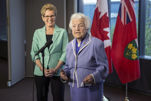 Ontario Premier and Liberal Leader Kathleen Wynne and former Mississauga Mayor Hazel McCallion address the media in Mississauga on May 14 , 2014.