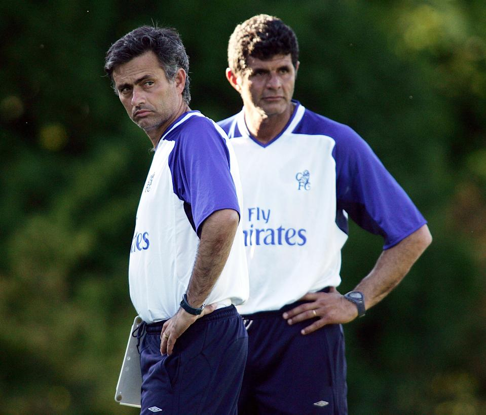 SEATTLE - JULY 22:  Chelsea manager Jose Mourinho and assistant coach Baltemar Brito during Chelsea pre-season training at the Seahawks Complex on July 22, 2004 in Seattle, Washington.  (Photo by Ben Radford/Getty Images)
