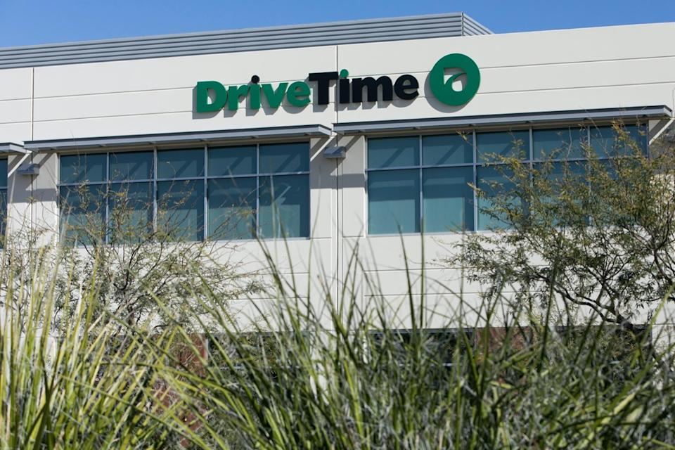 A logo sign outside of the headquarters of the DriveTime Automotive Group Inc., in Tempe, Arizona, on February 3, 2018.
