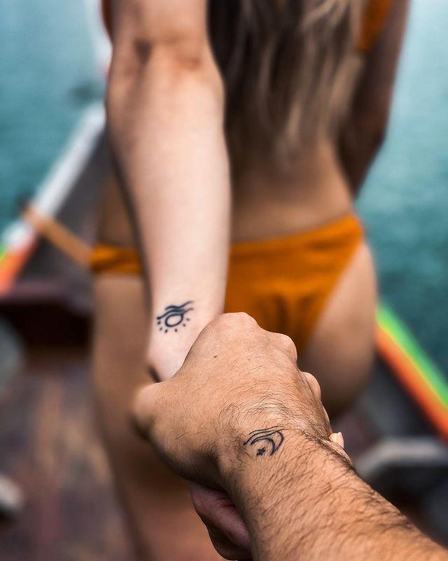 """<p>If you'd prefer coordinating tattoos over the matchy-matchy kind, consider one of you two getting a sun tattoo and the other getting the moon and stars.</p><p><a href=""""https://www.instagram.com/p/B4OzayXBtHZ/?utm_source=ig_embed&utm_campaign=loading"""" rel=""""nofollow noopener"""" target=""""_blank"""" data-ylk=""""slk:See the original post on Instagram"""" class=""""link rapid-noclick-resp"""">See the original post on Instagram</a></p>"""