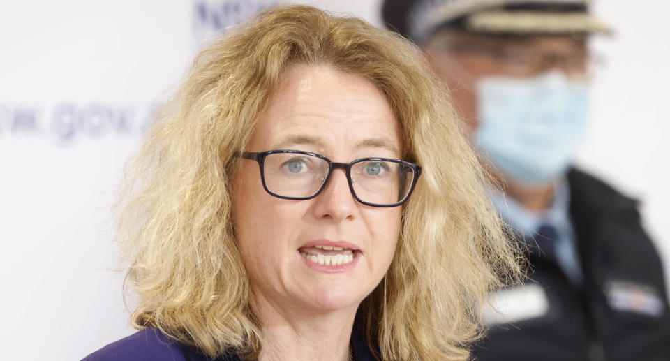Lung Specialist, Lucy Morgan speaks during a press conference in Sydney, Wednesday, August 25, 2021. Source: AAP