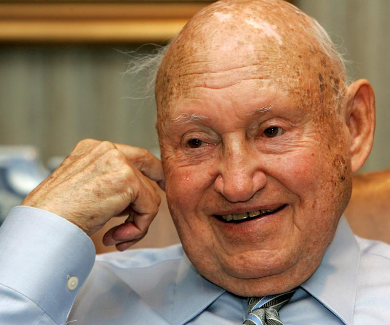 FILE - In this July 26, 2006 file photo, Chick-Fil-A founder Truett Cathy reacts during an interview at his corporate headquarters office in Hapeville, Ga. It is not entirely clear wether Chick-fil-a has definitely ended its financial support for groups that oppose same-sex unions. But a statement issued by the company Wednesday, Sept. 20, 2012, just months after its chief spoke against gay marriage, indicates it now plans to keep its distance from the more controversial views held by its Southern Baptist owners.  (AP Photo/Ric Feld, File)