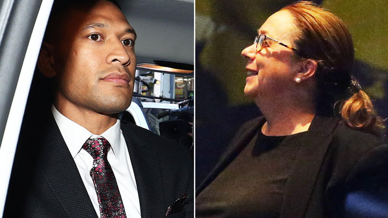 Israel Folau and Kate Eastman, pictured here after his tribunal hearing.