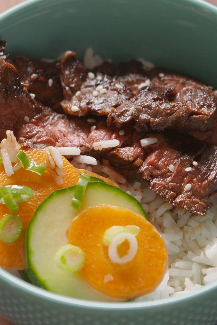 """<p>This delicious homemade Korean BBQ rice bowl comes together in a flash.</p><p>Get the recipe from <a href=""""https://www.delish.com/cooking/recipe-ideas/recipes/a45474/korean-bbq-rice-bowl-recipe/"""" rel=""""nofollow noopener"""" target=""""_blank"""" data-ylk=""""slk:Delish"""" class=""""link rapid-noclick-resp"""">Delish</a>. </p>"""