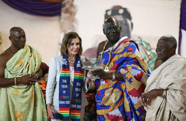 PHOTO: Speaker of the House Nancy Pelosi poses for a photograph after presenting a gift to Paramount Chief of Cape Coast traditional area, Osabarima Kwesi Atta II, in Ghana July 30, 2019. (Siphiwe Sibeko/Reuters)