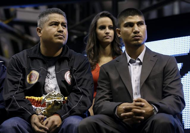Robert Garcia, Mikey's brother and trainer, is among those who have discouraged him from challenging Errol Spence Jr. (AP)
