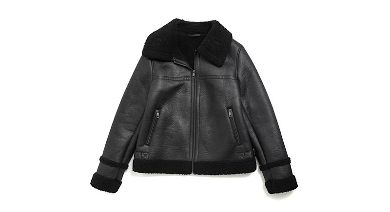 Faux Shearling Borg Lined Aviator Jacket