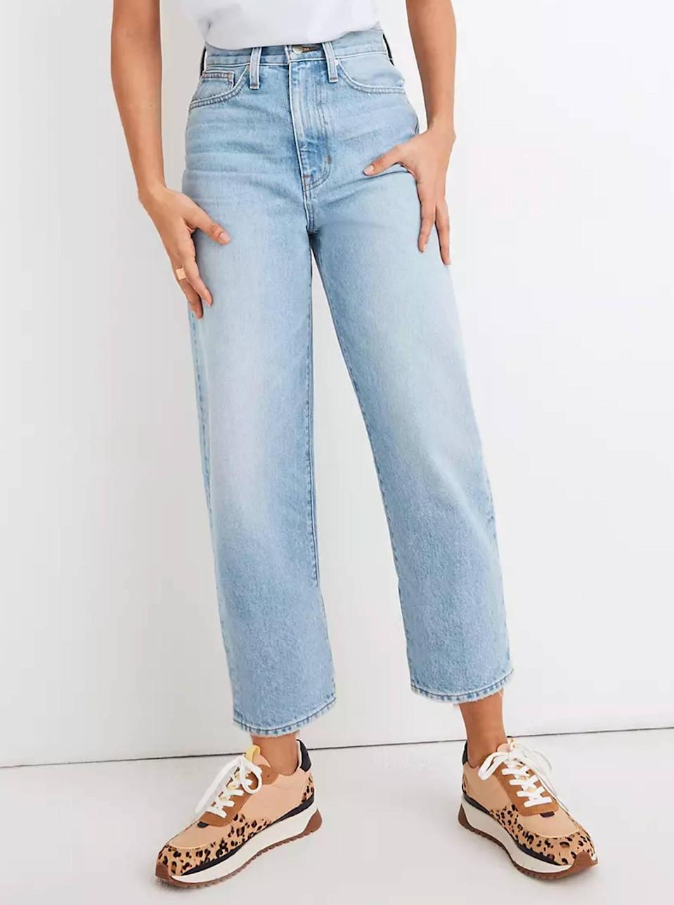 """$118, Madewell. <a href=""""https://www.madewell.com/balloon-jeans-in-datewood-wash-MB942.html"""" rel=""""nofollow noopener"""" target=""""_blank"""" data-ylk=""""slk:Get it now!"""" class=""""link rapid-noclick-resp"""">Get it now!</a>"""