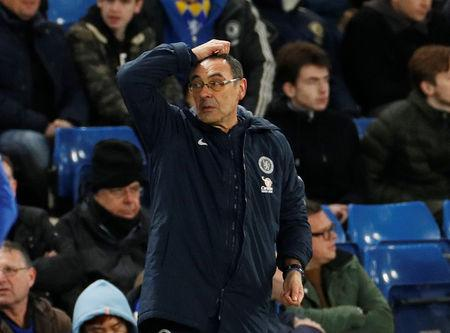 Soccer Football - FA Cup Fifth Round - Chelsea v Manchester United - Stamford Bridge, London, Britain - February 18, 2019  Chelsea manager Maurizio Sarri reacts  Action Images via Reuters/John Sibley