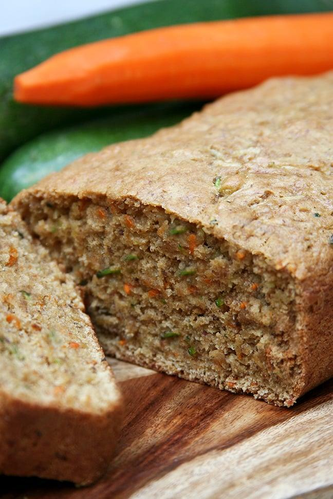 "<p>Mixed with grated carrot and applesauce to add fiber and natural sweetness, each slice of this vegan carrot zucchini bread is perfectly soft and moist.</p> <p><strong>Calories:</strong> 200<br> <strong>Protein:</strong> 3.4 grams</p> <p><strong>Get the recipe:</strong> <a href=""https://www.popsugar.com/fitness/Recipe-Carrot-Zucchini-Bread-3977316"" class=""link rapid-noclick-resp"" rel=""nofollow noopener"" target=""_blank"" data-ylk=""slk:carrot zucchini bread"">carrot zucchini bread</a></p>"