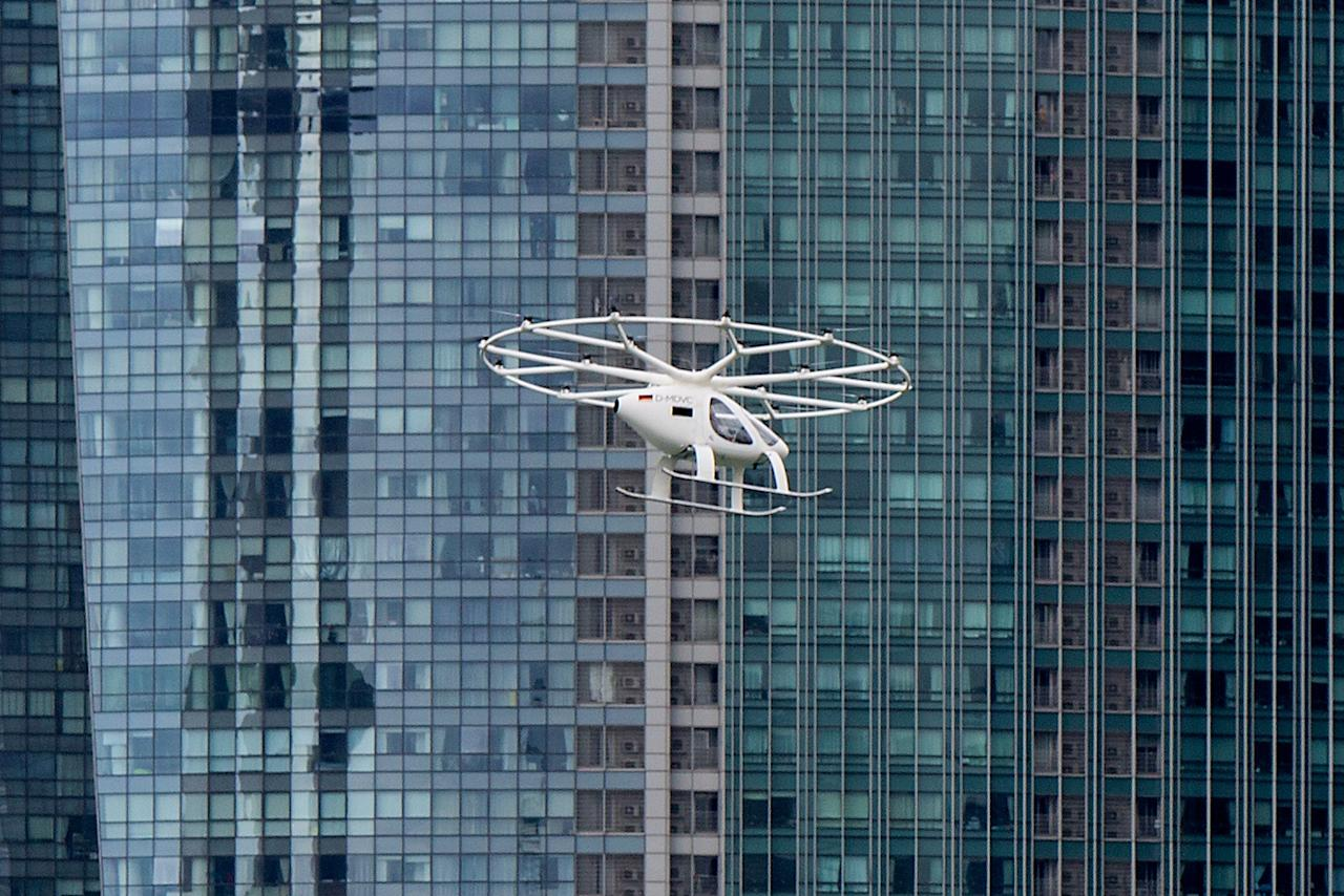 The prototype Volocopter making its test flight over Marina Bay on 22 October 2019. (PHOTO: Dhany Osman / Yahoo News Singapore)