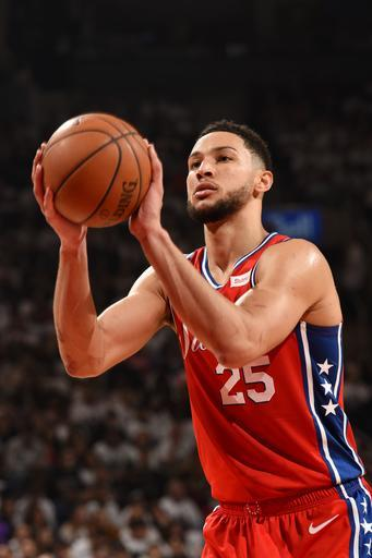 TORONTO, CANADA - MAY 12: Ben Simmons #25 of the Philadelphia 76ers shoots a free-throw against the Toronto Raptors during Game Seven of the Eastern Conference Semi-Finals of the 2019 NBA Playoffs on May 12, 2019 at the Scotiabank Arena in Toronto, Ontario, Canada. (Photo by Ron Turenne/NBAE via Getty Images)