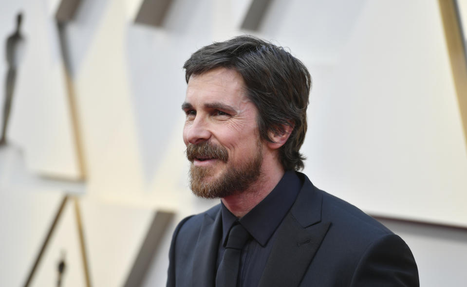 Christian Bale arrives at the Oscars on Sunday, Feb. 24, 2019, at the Dolby Theatre in Los Angeles. (Photo by Jordan Strauss/Invision/AP)