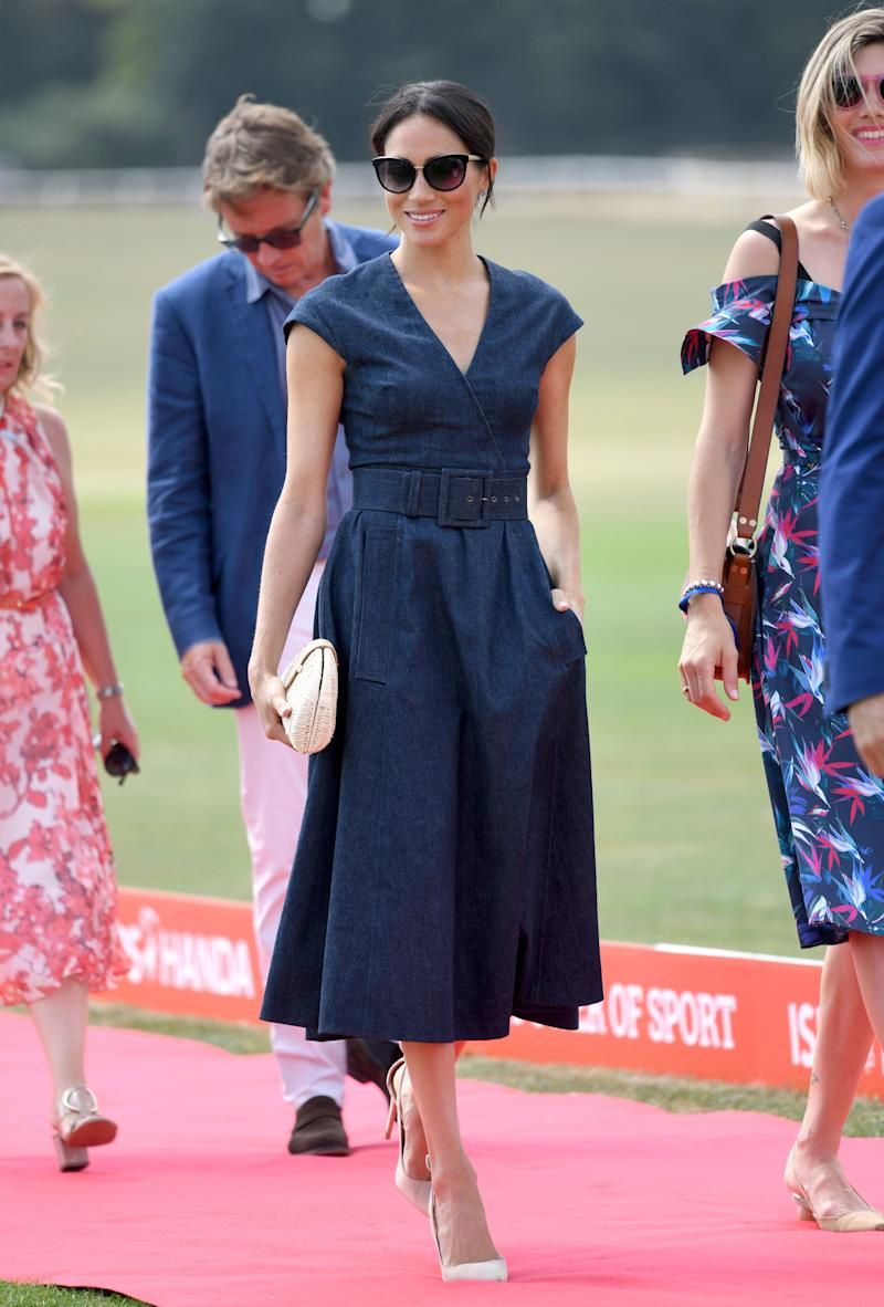 Meghan, Duchess of Sussex attends the Sentebale ISPS Handa Polo Cup at the Royal County of Berkshire Polo Club on July 26, 2018 in Windsor, England. (Photo by Karwai Tang/WireImage)