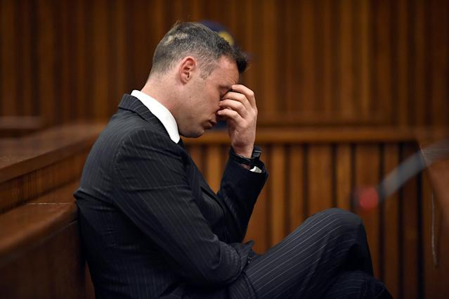 Former Paralympian Oscar Pistorius attends his sentencing for the murder of Reeva Steenkamp at the Pretoria High Court, South Africa June 13, 2016. REUTERS/Phill Magakoe/Pool