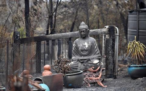 A statue of Buddha damaged by Saturday's catastrophic bushfires in the Southern Highlands village of Balmoral, Australia - Credit: Reuters