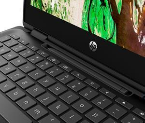 The optional USI Garaged Pen can be charged and stored on the keyboard of the HP Chromebook x360 11 G4 EE, helping students keep track of the pen throughout the day.