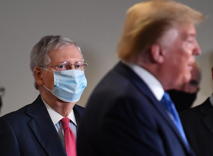 Senate Majority Leader Mitch McConnell, left, and President Trump in Washington on May 19. (Kevin Dietsch/UPI/Bloomberg via Getty Images)