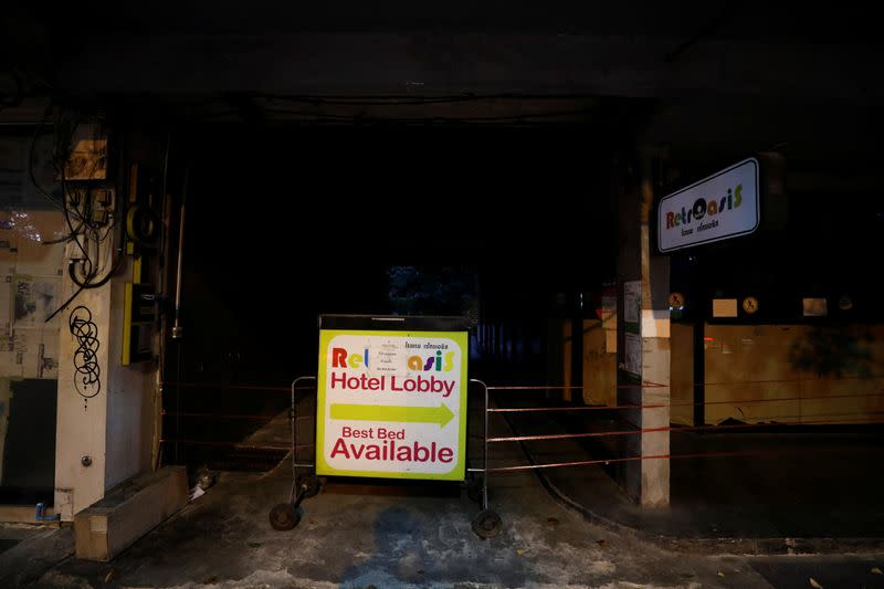 A closed backpackers hotel is seen in Bangkok