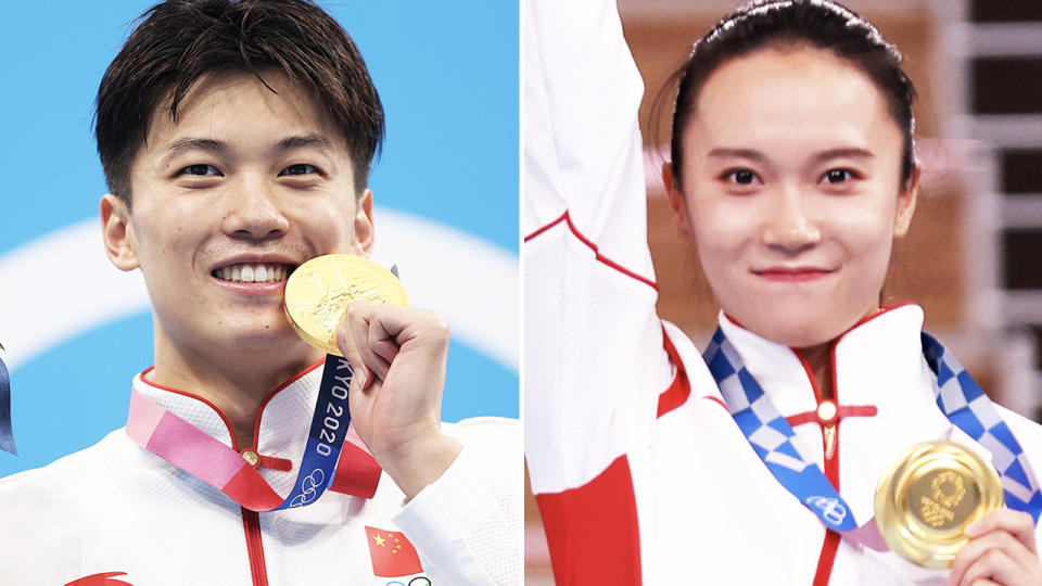 Wang Shun and Zhu Xueying, pictured here after winning gold at the Olympics.
