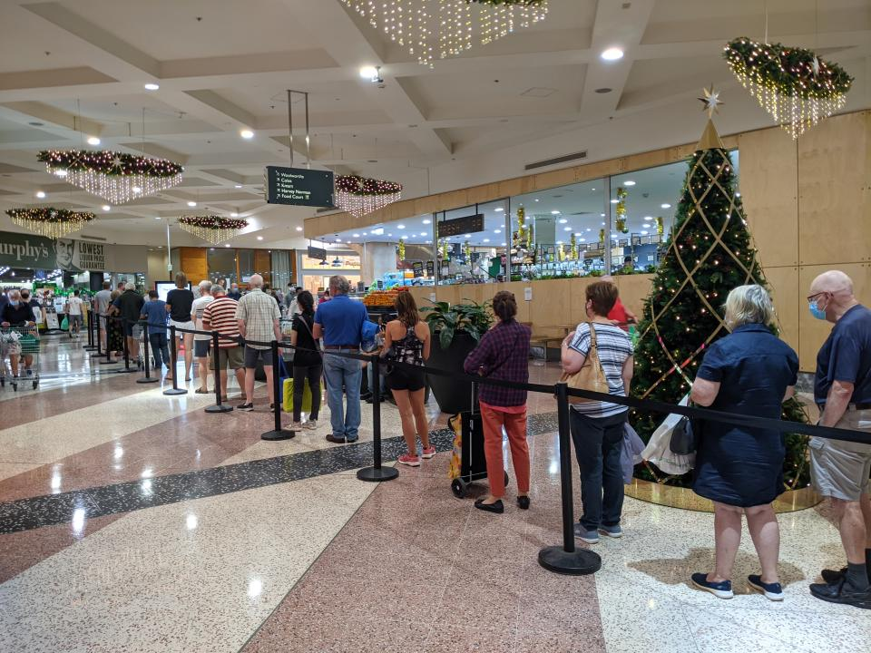 People queuing for seafood at Westfield Hornsby. Source: Paul Newman
