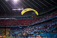 Greenpeace said the protest action was aimed at urging Euro 2020 sponsor Volkswagen to stop selling diesel and petrol cars