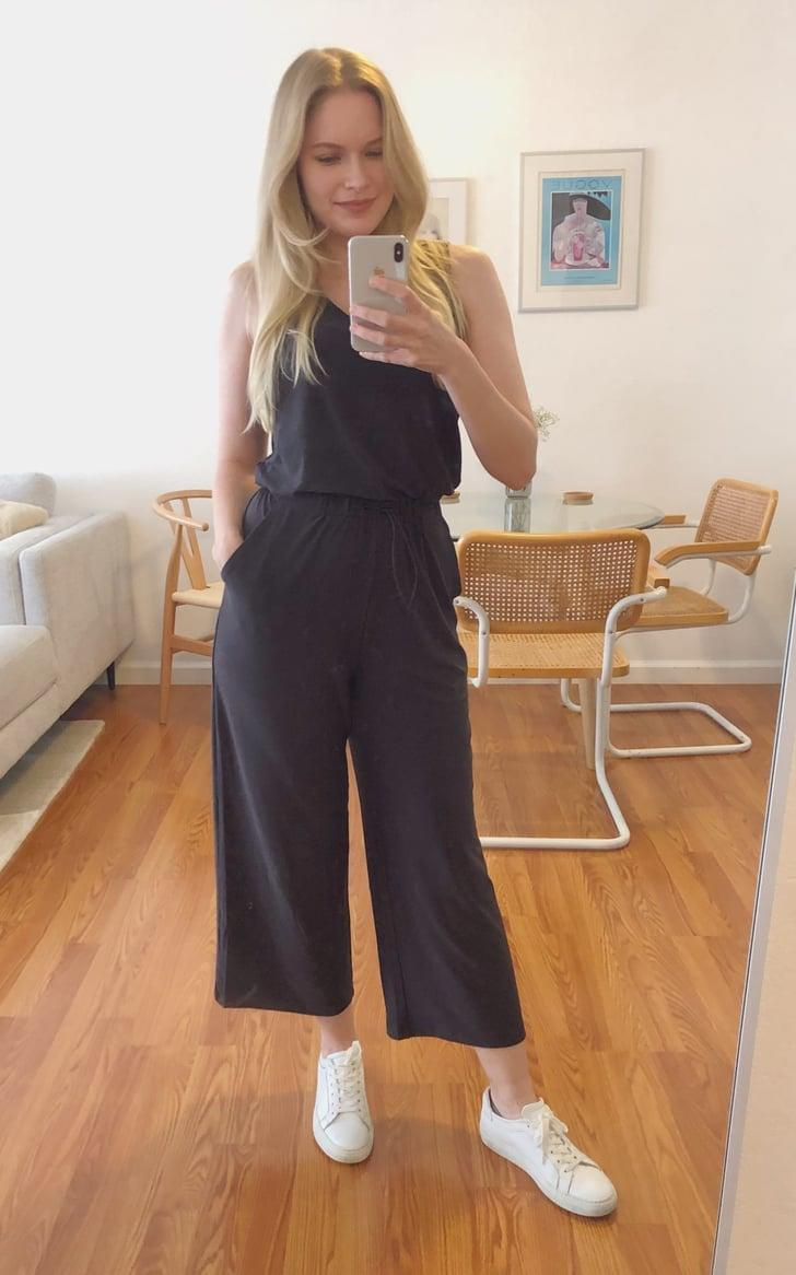 """<p><strong>The item: </strong><span>Old Navy Breathe ON V-Neck Wide-Leg Jumpsuit</span> ($20-$40, originally $45)</p> <p><strong>What our editor said: </strong>""""The material is so lightweight, but also secure enough to feel flattering. It's made from the brand's Go-Dry moisture-wicking technology that'll keep you cool and dry, no matter how hot you might get. It also features an elastic waist with an adjustable cord, so you can fit it perfectly to your body."""" - KJ </p> <p>If you want to read more, here is the complete <a href=""""http://www.popsugar.com/fashion/best-jumpsuit-for-hot-weather-from-old-navy-editor-review-47641348"""" class=""""link rapid-noclick-resp"""" rel=""""nofollow noopener"""" target=""""_blank"""" data-ylk=""""slk:review"""">review</a>.</p>"""